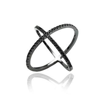Anel X Folheado Ródio Negro com Micro Zircônia Negra