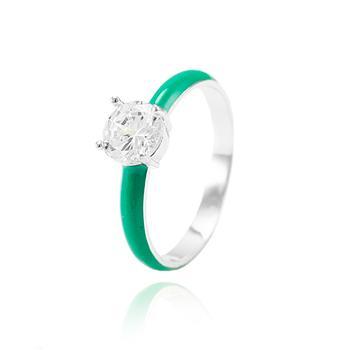 Anel Folheado Ródio com Resina Turmalina Verde e Zircônia Cristal