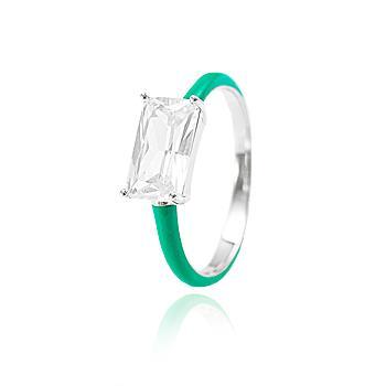 Anel Folheado Ródio com Zircônia Retangular Cristal e Resina Turmalina Verde