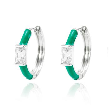 Brinco Argola Folheado Ródio com Resina Turmalina Verde e Zircônia Retangular Cristal
