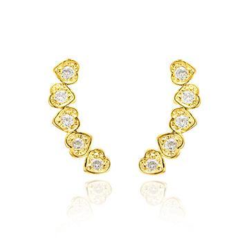 Brinco Ear Cuff Corações Folheado Ouro 18K com Zircônia Cristal