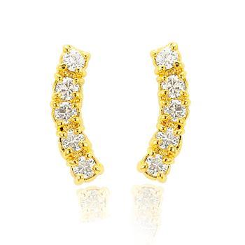 Brinco Ear Cuff Folheado Ouro 18K com Zircônia Redonda Cristal