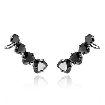 Brinco Ear Cuff Folheado Ródio Negro com Zircônia Triangular Cristal Negro