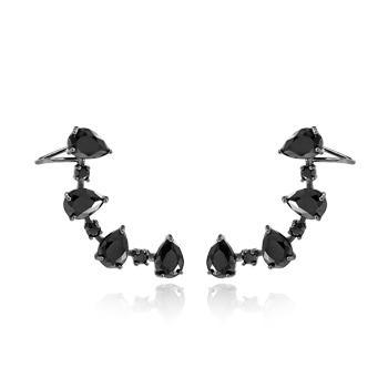 Brinco Ear Cuff Folheado Ródio Negro com Zircônia Gota Cristal Negro