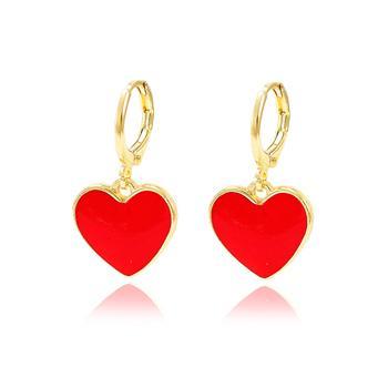 Brinco Argola Folheado Ouro 18K Coração com Resina Vermelha