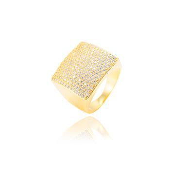 Anel Quadrado Folheado Ouro 18K com Micro Zircônia Cristal