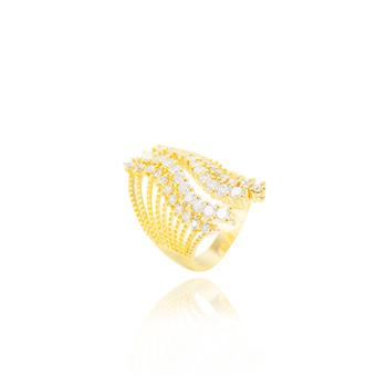 Anel Folheado Ouro 18K Detalhado com Zircônia Cristal