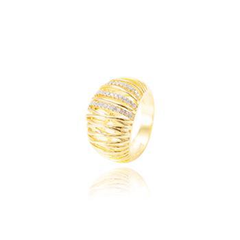 Anel Folheado Ouro 18K com Detalhes Riscados e Micro Zircônia Cristal