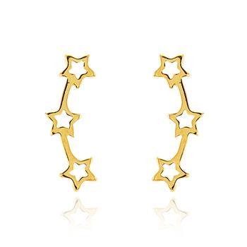 Brinco Ear Cuff Folheado Ouro 18K com 3 Estrelas