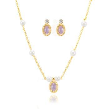 Conjunto Oval Folheado Ouro 18K com Cristal Ametista e Pérola