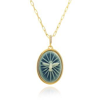 Colar Folheado Ouro 18K Pingente Oval com Resina Azul e Espirito Santo Desenhado