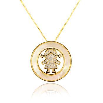 Colar Folheado Ouro 18K Menina com Micro Zircônia Cristal e Madre Pérola