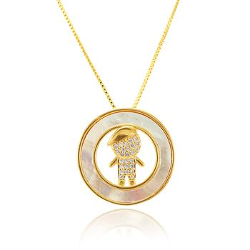 Colar Folheado Ouro 18K Menino com Micro Zircônia Cristal e Madre Pérola