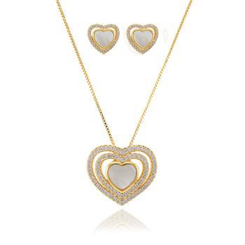 Conjunto Coração Folheado Ouro 18K com Micro Zircônia Cristal e Madre Pérola Coração