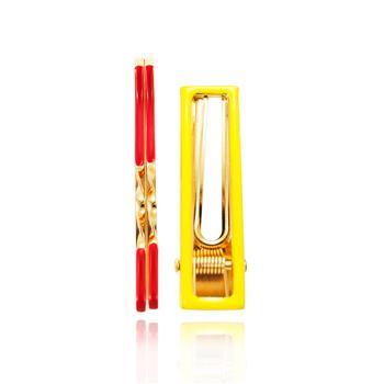 Presilha Amarela Folheada Ouro 18K com Grampos Vermelho
