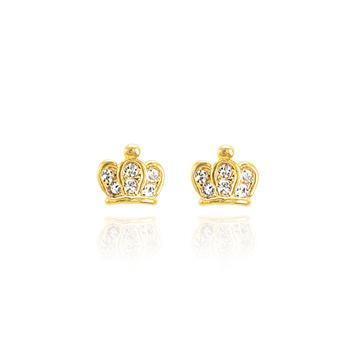 Brinco Coroa Folheado Ouro 18K com Detalhes de Strass Cristal