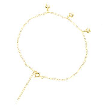 Tornozeleira Folheada Ouro 18K com Estrelas e Pérolas
