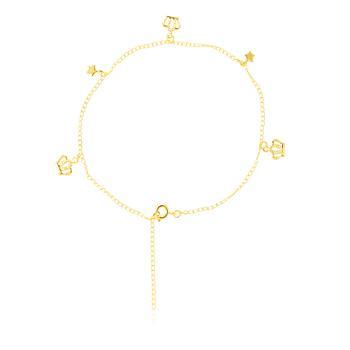 Tornozeleira Folheada Ouro 18K com Coroas e Estrelas