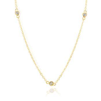 Colar Tiffany Folheado Ouro 18K Coração com Zircônia Cristal