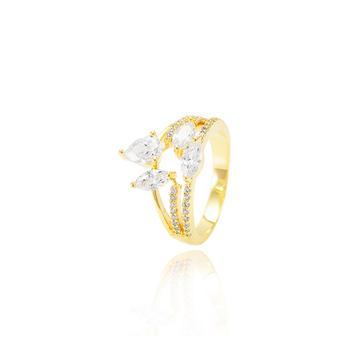 Anel Folheado Ouro 18K com Zircônia Navete Cristal e Micro Zircônia Cristal