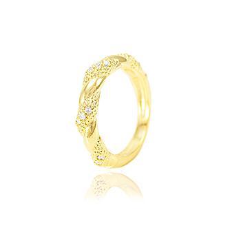 Anel Detalhado Folheado Ouro 18K Micro Zircônia Cristal