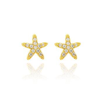Brinco Estrela Folheado Ouro 18K com Micro Zircônia Cristal