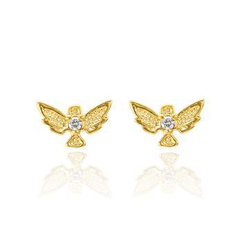 Brinco Pássaro Folheado Ouro 18K com Zircônia Cristal