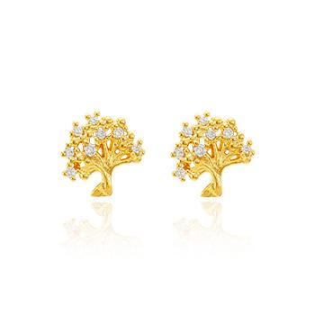Brinco Árvore da Vida Folheado Ouro 18K com Micro Zircônia Cristal