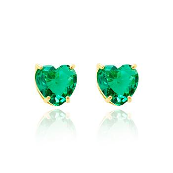 Brinco Coração Folheado Ouro 18K com Cristal Turmalina Verde
