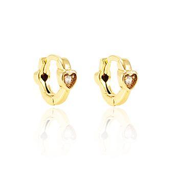 Brinco Argola Folheado Ouro 18K com Coração e Zircônia Cristal