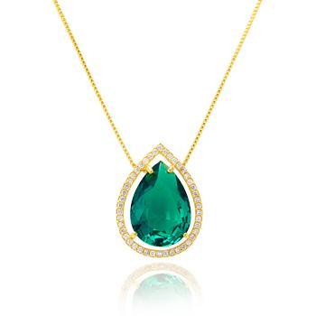 Colar Folheado Ouro 18K com Pingente de Gota Cristal Turmalina Verde e Micro Zircônia Cristal