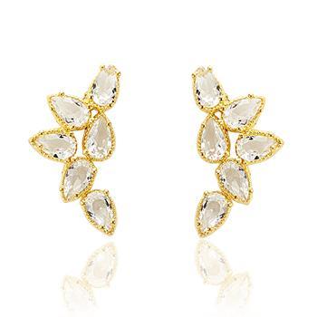 Brinco Ear Cuff Folheado Ouro 18K com Gotas de Zircônia Cristal