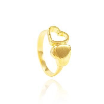 Anel Folheado Ouro 18K com Coração Liso e Coração Vazado