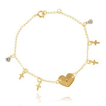 Pulseira Folheada Ouro 18K Coração com Espirito Santo, Cruz e Ponto de Luz