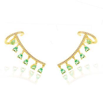 Brinco Ear Cuff Folheado Ouro 18K com Gotinhas Turmalina Verde e Micro Zircônia Cristal