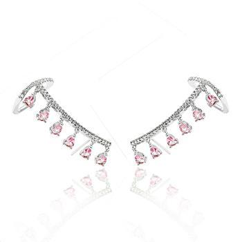 Brinco Ear Cuff Folheado Ródio com Gotinhas Rosa e Micro Zircônia Cristal