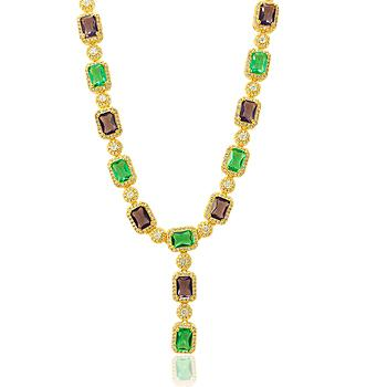 Colar Gravata Folheado Ouro 18K Retângulos com Cristais Coloridos e Micro Zircônia Cristal
