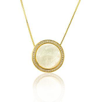 Colar Folheado Ouro 18K com Circulo Grande de Micro Zircônia Cristal e Madre Pérola no Centro