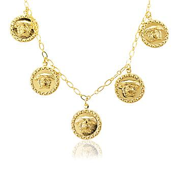Colar Cartier Medalha Medusa Folheado Ouro 18K