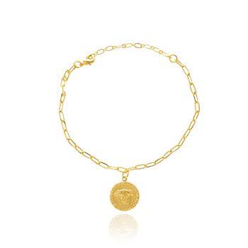 Pulseira Medalha Medusa com Corrente Cartier Folheado Ouro 18K