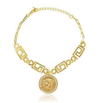 Pulseira Medalha Medusa Detalhada Micro Zircônia Cristal Folheado Ouro 18K