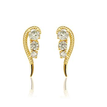 Brinco Ear Cuff Asa com Micro Zircônia Cristal Folheado Ouro 18K