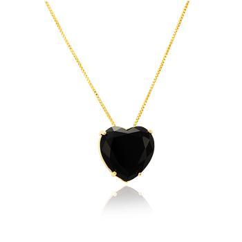 Colar Folheado Ouro 18K com Pingente Coração Cristal Negro