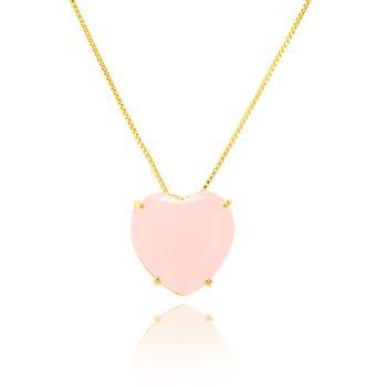 Colar Folheado Ouro 18K com Pingente Coração Cristal Rosa Leitoso