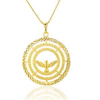 Colar Mandala Espirito Santo Folheado Ouro 18K