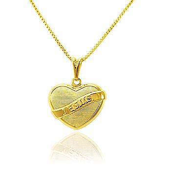Colar Coração com Faixa Jesus Folheado Ouro 18K