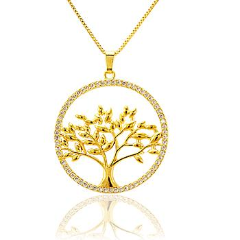 Colar Folheado Ouro 18K Pingente Árvore Da Vida com Micro Zirconia