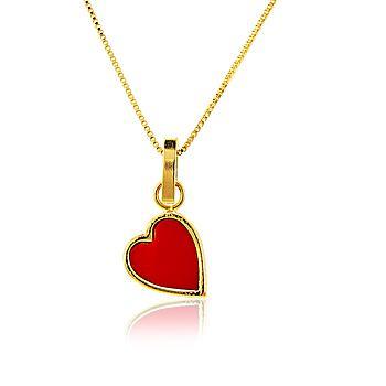 Colar Coração com Resina Vermelha Folheado Ouro 18K