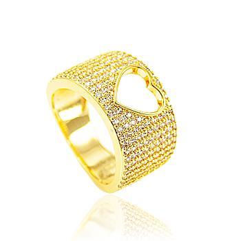Anel Folheado Ouro 18K com Micro Zircônia Cristal e Coração Vazado no Centro