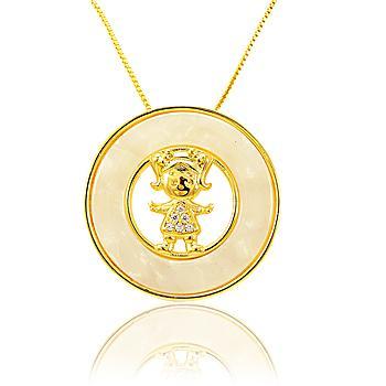 Colar Mandala Menina com Micro Zircônia e Madre Pérola Folheado Ouro 18K